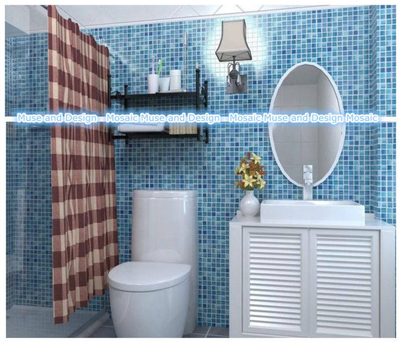 Hand Painted blue glass mosaic tile Wall tile for kitchen ...