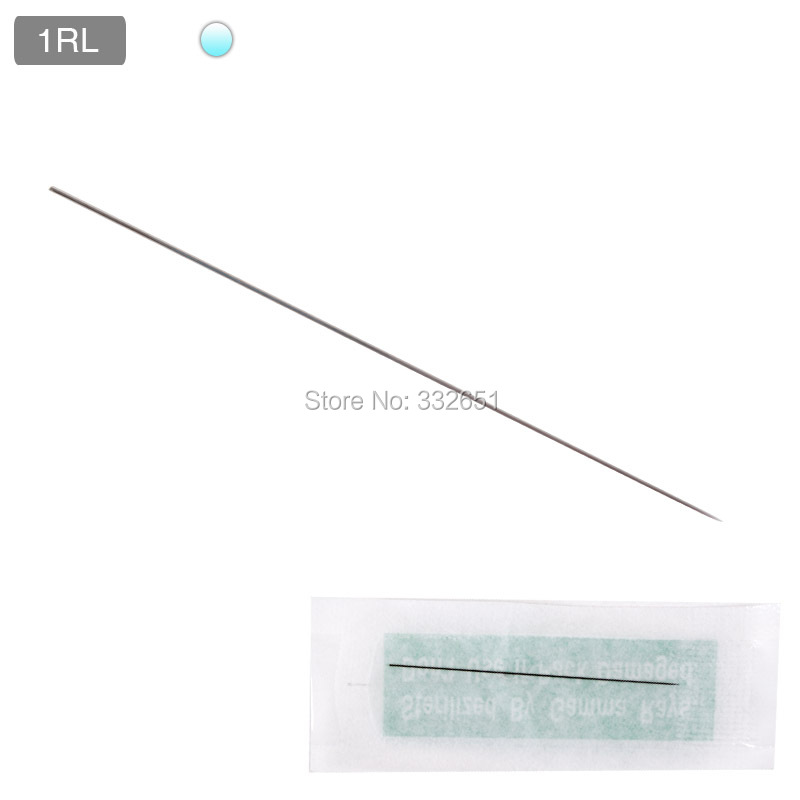 100pcs 1RL Disposable Tattoo Needles Sterilized Permanent Eyebrow Makeup Needle Individual Pack For Tattoo Pen 3D pmu 10