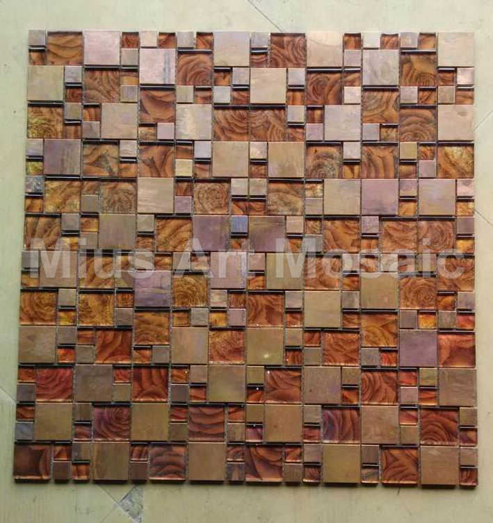 Copper Mosaic Mixed Gold Foil Glass Tile For Kitchen Backsplash