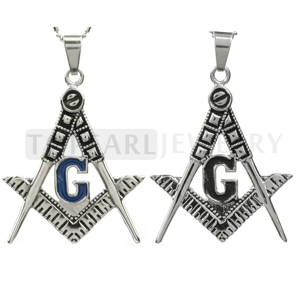 Topearl jewlery 2pcs pendants blue black g masonic symbol topearl jewelry set of 2 antique masonic symbol freemason pendant stainless steel aloadofball Gallery