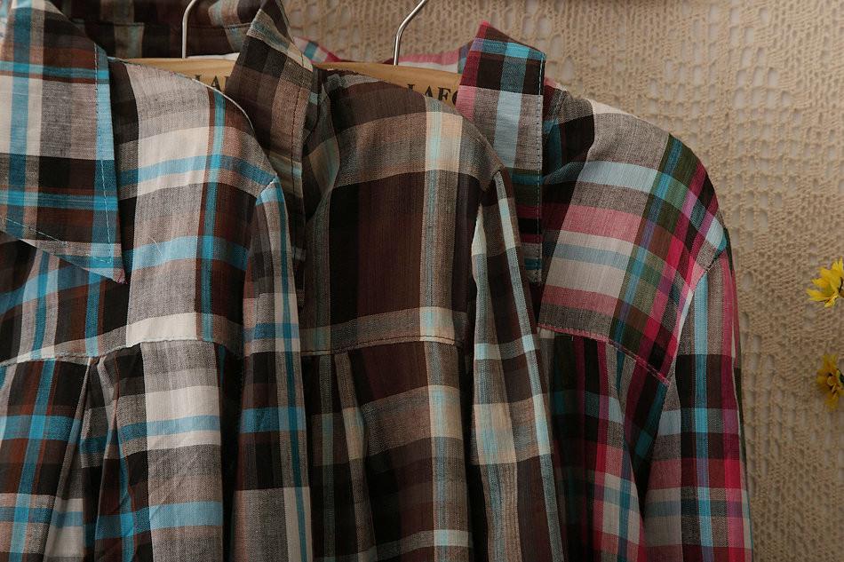 513 2015 новинка женщины блузы blusas плед проверьте блузки с длинным рукавом карманный нагрудные воротник рубашки широкий свободного покроя топы большой размер