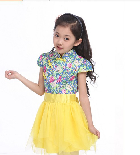 новый летние девушки из китайский синий и белый для платье детская одежда ретро принцесса платье с карате Recover