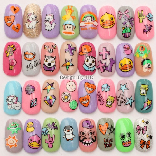 SEE DETAILS wholesale 10 Pcs 2015 Newest cartoon kids child nail art ...