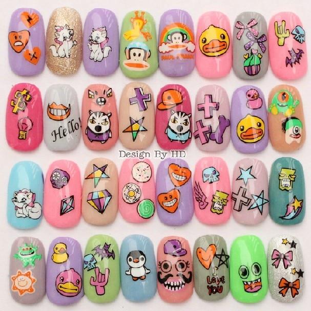 SEE DETAILS wholesale 10 Pcs 2015 Newest cartoon kids child nail art ...