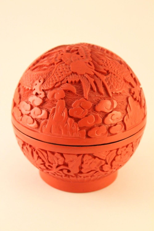 Chinese Cinnabar Trinket Box