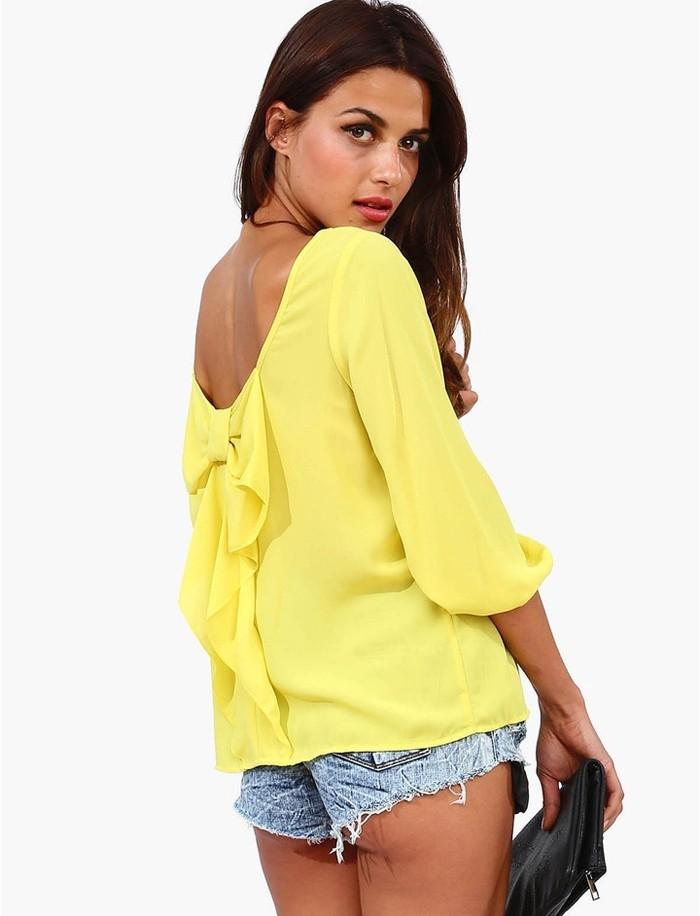 лето женщины шифон блузы с низким вырезом на спине большой бант украшение фреш воздухопроницаемый дамы рубашки свободного покроя топы