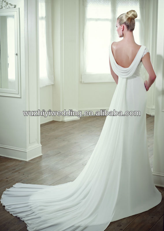 Cowl Back Chiffon Wedding Dresses