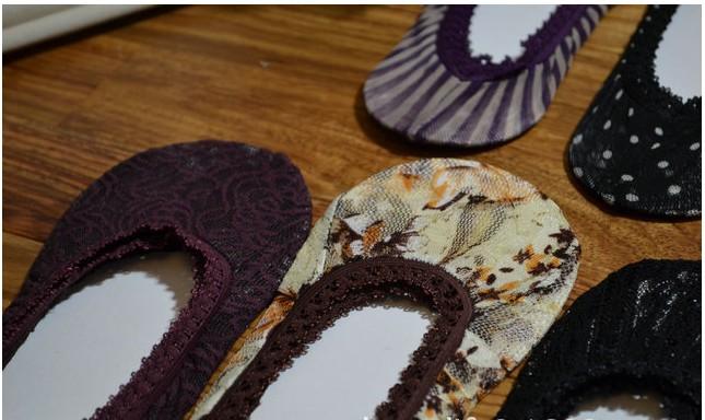 20 шт. = 10 пар/лот новинка женщины кружево невидимые носок тапочки многоцветный