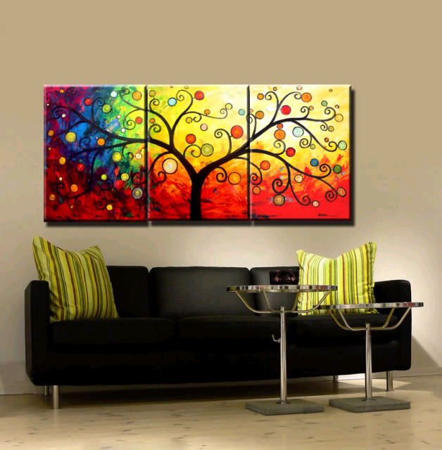 New 3 Piece Canvas Art Hand Painted Modern Abstract Tree Oil Paintings For Living Room Wall Decoration Home Unique Gift In Painting Calligraphy