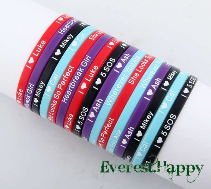 US $9 99 |80pcs 5mm Super Star 5 seconds of summer 5sos Silicone Bracelets  Wristbands Jewelry 2014 Hot Fans Gift Wholesale Free shipping-in ID
