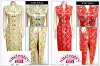 женская китайский стиль классический шелковый атлас рукавов кардиган платье halt / женский s-ххl прекрасно cheongsams прием платье / a221