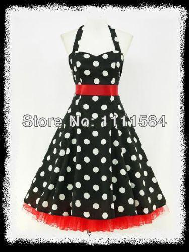 Vestido negro con puntos rojos