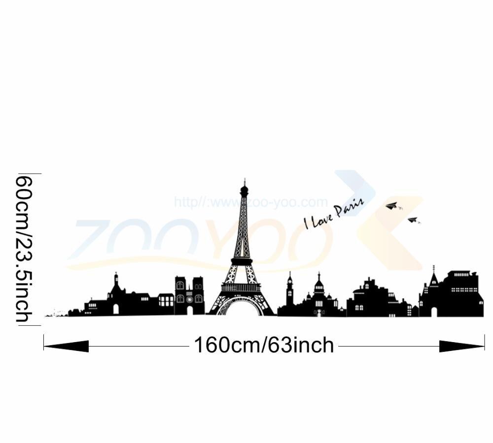 I Love Paris Eiffel Tower World City Symbol Wall Decals