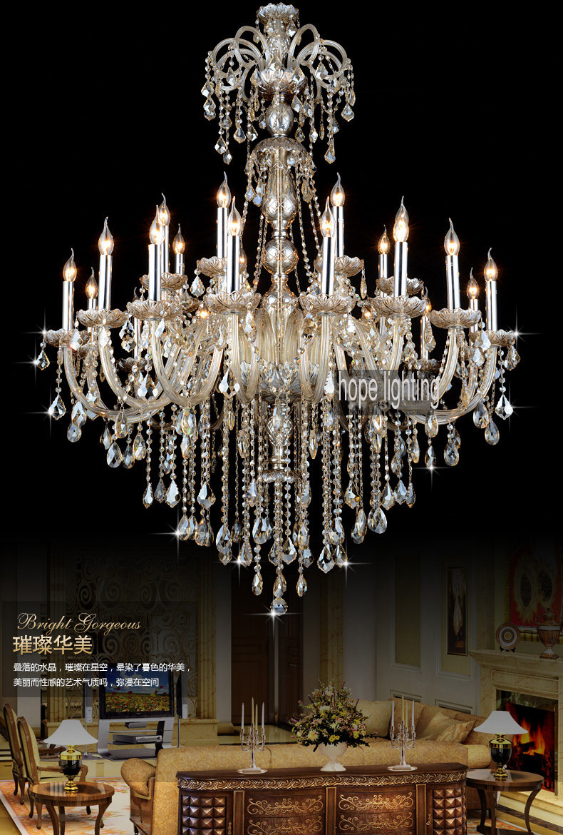 Luxurious European Style Lighting Large Crystal Chandeliers Contemporary Hotel Banquet Hall Chandelier Light Vintage