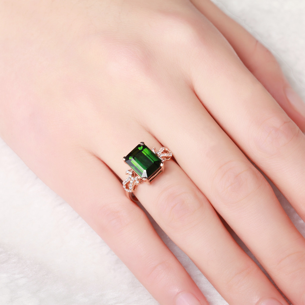 Luxury&Classic GVBORI 18K Gold Natural Emerald Green Gemstone ...