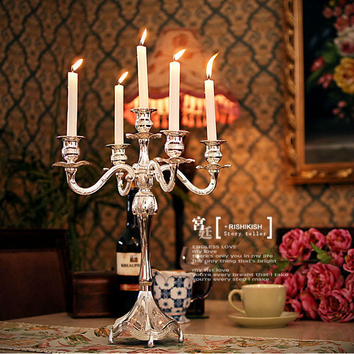 H45cm 5 arm candelabra silver plated candle holder wedding candle ...