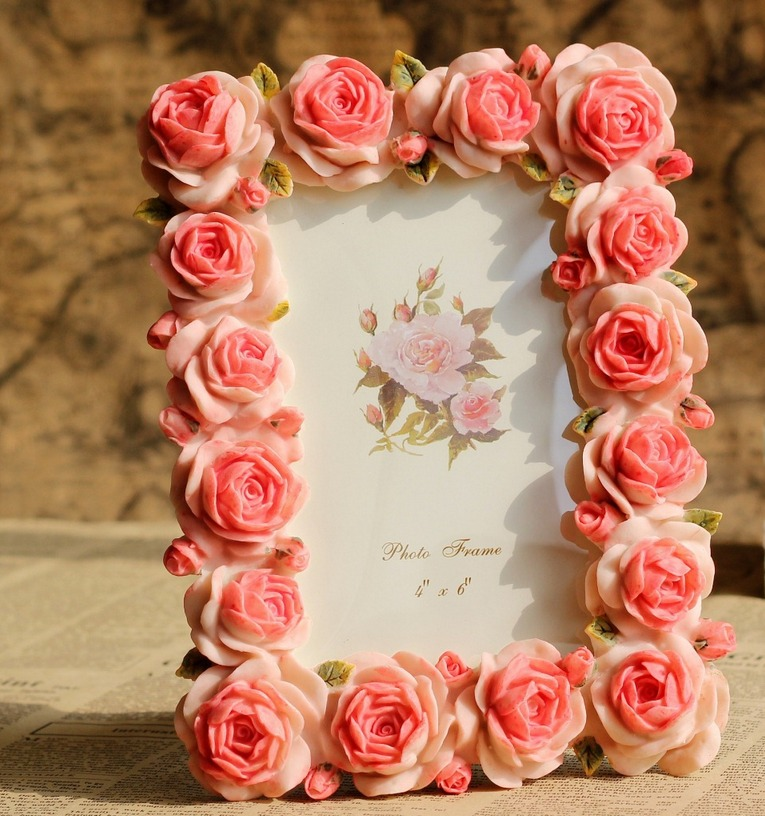 Retro Vintage Blossom Pink Rose Flower Home Decor Picture Frame