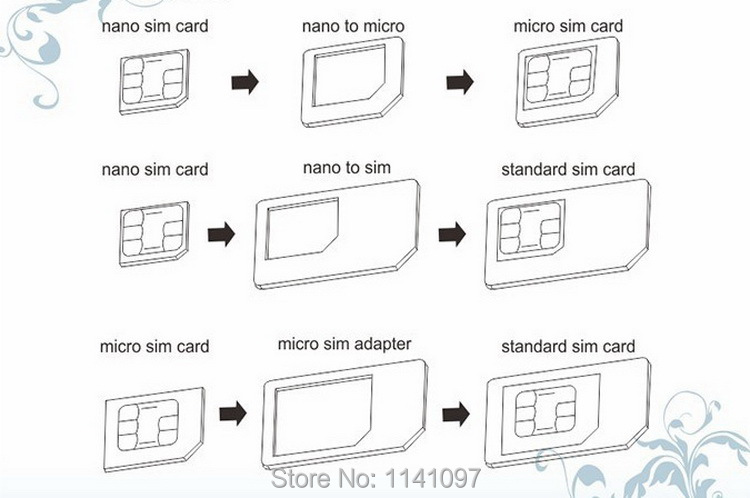 3Pcs Color Pack Sim Card Mini Adaptor Micro Adapter Converter