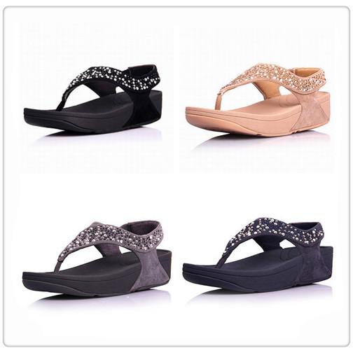 b0121a54539b8 wholesale flip flops rock chic sandals cheap fashion brand women wedges  diamond summer shoes Black
