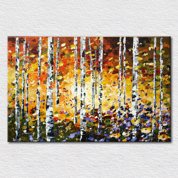 Regalo fino bosque abstracto o abedul impresa sobre lienzo de aceite ...