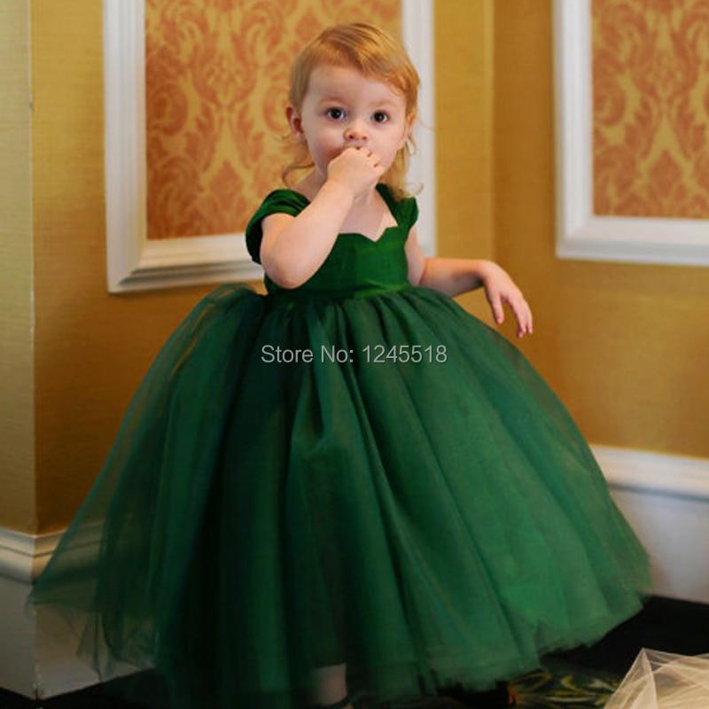 8ebf1643752e Custom Made Ankle Length Emerald Green Satin Top Tulle Skirt Baby ...