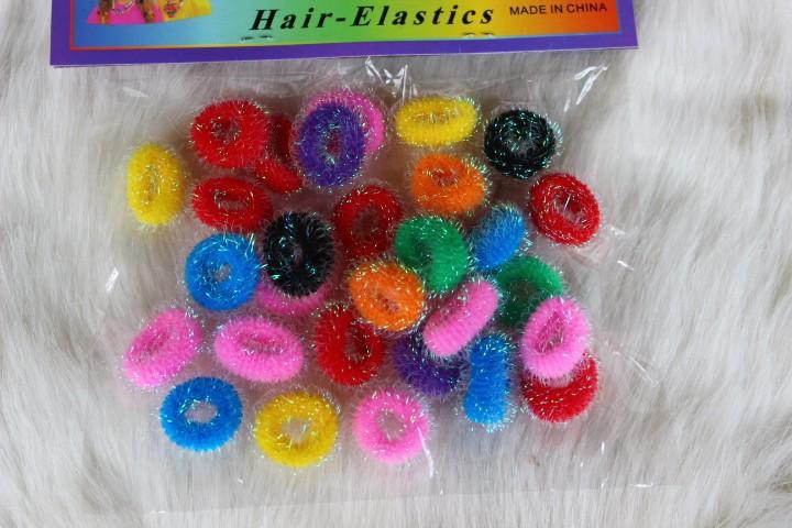 75 шт. = 3 пакетов/лот дети девочка крючком ткань радуга резьба ленты для волос упругие хвост gals свидание j020