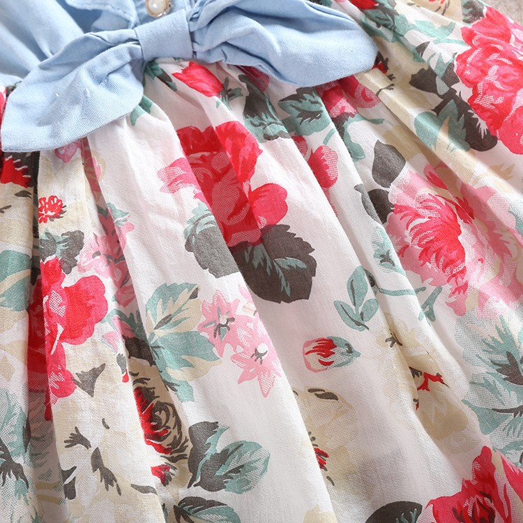 HT1hOGvFKRbXXagOFbX1 - Belababy Baby Girl Dress 2017 Summer Children Sleeveless Denim Floral Dresses With Button Kids Princess Summer Dresses For Girls