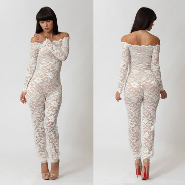 8ad8ab7d1 hot sale!Sexy Long Sleeve Wet Look Overall lace crochet women Catsuit Jumpsuit  sexy white strapless see-thru club party Jumpsuit