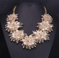 высокое качество новый бренд женская милый большой цветы ожерелье топ мода себе негров стоит кристалл колье ожерелье