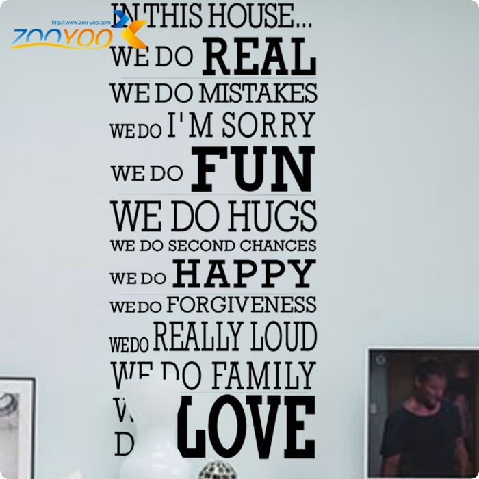 Free Shipping English Quotes Happy Family House Rules Vinyl Wall