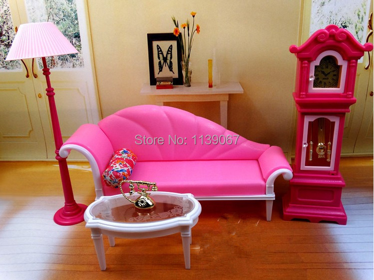 Pink Sofa Floor Lamp Clock Set / Dollhouse Living Room Furniture ...