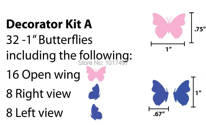 32pcs/Set Beautiful Butterflies Vinyl Wall Sticker Lovely Wall Decals For Home/Car Window/Glass DIY Decoration