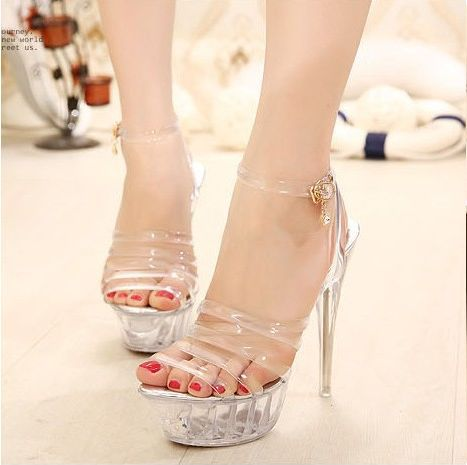 c34fa6e2c88 Low price New Women Pumps Sexy Ladies Peep-Toe Super High Heels Platform  Blink Sandals Perspex Stilettos Fashion Woman Shoes