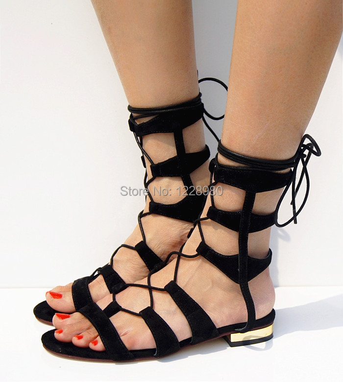 c6bbf2352be36 2015 New Arrival Suede Lace Up Women Summer Boots Ankle Wrap Flat Shoes  Fashion Designer Sandals Boots Flat Sandals