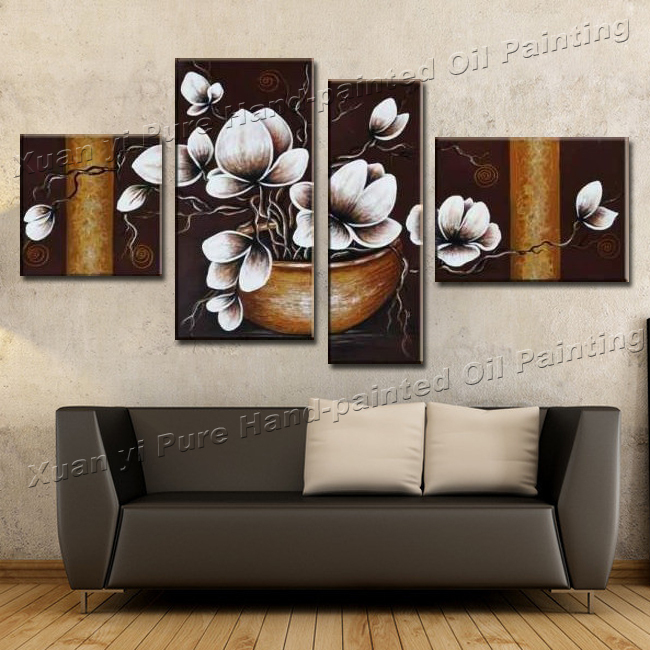 Handmade 4 Piece Canvas Wall Art Canvas Modern Art Painting Abstract Orchid  Flower Oil Painting Living Room Decorative Pieces-in Painting & Calligraphy  from ...