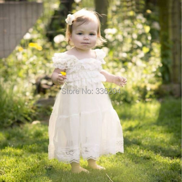 Free Shipping Lace Flower Girl Dress Ivory Rustic Dress Baby Baptism