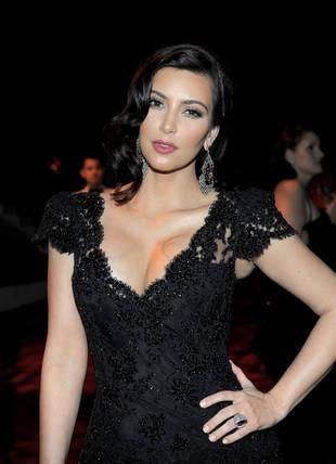 Kim Kardashian 2012 Golden Globe Awards Cap Sleeves V1 Neck Lace Mermaid Celebrity Dress