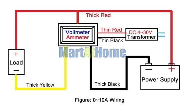 argedo 30pcs dual led digital voltmeter ammeter dc 0 100v 10a blue rh aliexpress com Digital Ammeter Voltmeter Round digital voltmeter ammeter wiring diagram