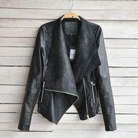 кожаная одежда женщин с коротким дизайн тонкий слой искусственная кожа куртка женская / бесплатная доставка wt4057