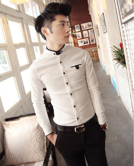 Free Shipping Fashion New Men's Contrast Collarless Button Up Slim ...