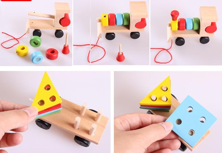 Free delivery factory price children's educational Three small trains toys, wooden blocks trains, kids Models Building Toy 4