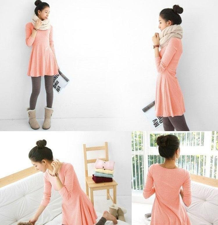 women-s-ladies-long-sleeve-Grinding-wool-comfortable-dress-Joker-maxi-casual-dresses-Free-Shipping-F3211