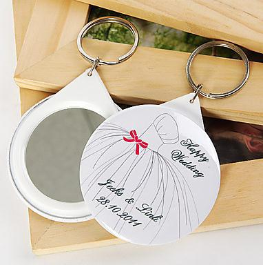 Free Shipping 1pcs Personalized Wedding Favors And Gifts Mirror Keychain For Guests