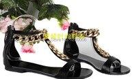 цепь обувь туфли на высоком каблуке бренд высокая высокие каблуки, сексуальный обувь для женщины золото цепочки ну вечеринку сандалии ес размер 35 - 42