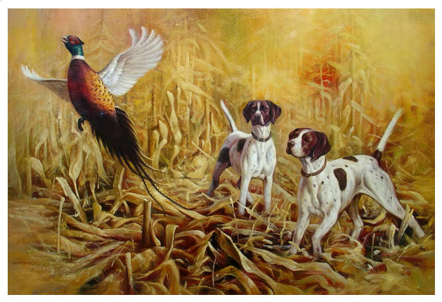 Free shipping Handmade Hunting dogs oil paintings On Canvas Abstract ...