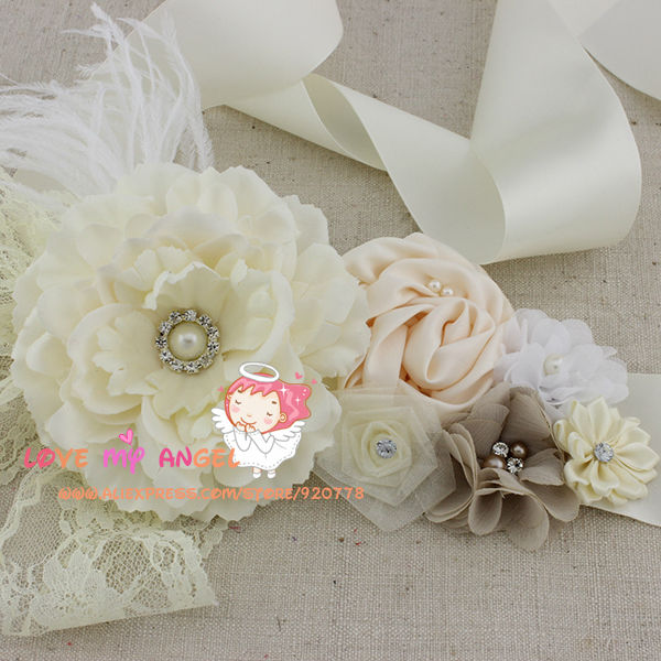 12813b859fc Floral wedding sash Ivory fabric flower with lace pearls Rhinestone and  Feathers belt flower girl sash bridal sash 48pcs lot