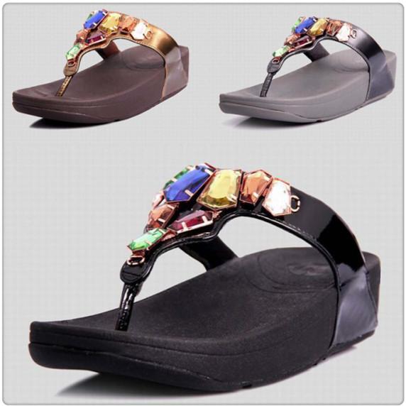 ded4a9f70437 wholesale womens flip flops Aztek Chada slides cheap fashion brand sandals  wedges diamond ladies summer shoes Black