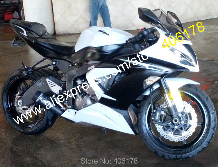 US $350 55 5% OFF Hot Sales,For kawasaki Ninja ZX 6R 2013 2014 2015 ZX 6R  636 ZX636 ZX 636 13 15 ZX6R White Black fairings kit (Injection molding)-in