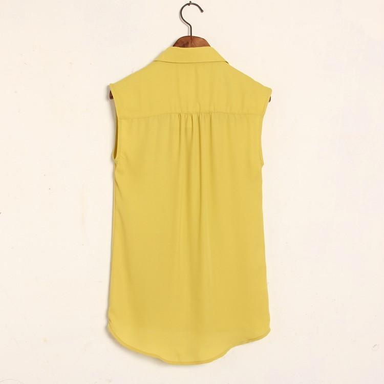 металлические нагрудные декоративные леди лето-закладки без рукавов блузка шифон рубашка с 2 карманные c032