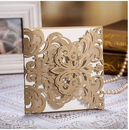100pcs Champagne Gold Laser Cut Wedding Invitation Vintage Cards Cutting